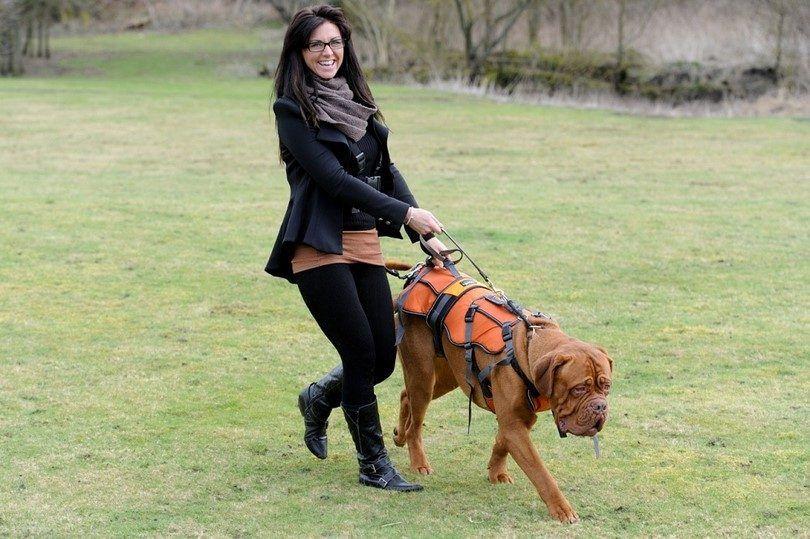 Mujer y perro con braclet