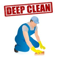Un limpiador de dibujos animados con una limpieza profunda en letras rojas grandes por encima