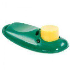 Verde clicker adiestramiento de perros con un botón amarillo