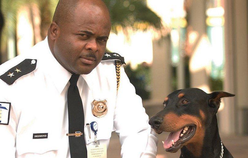 Guardia con perro guardián