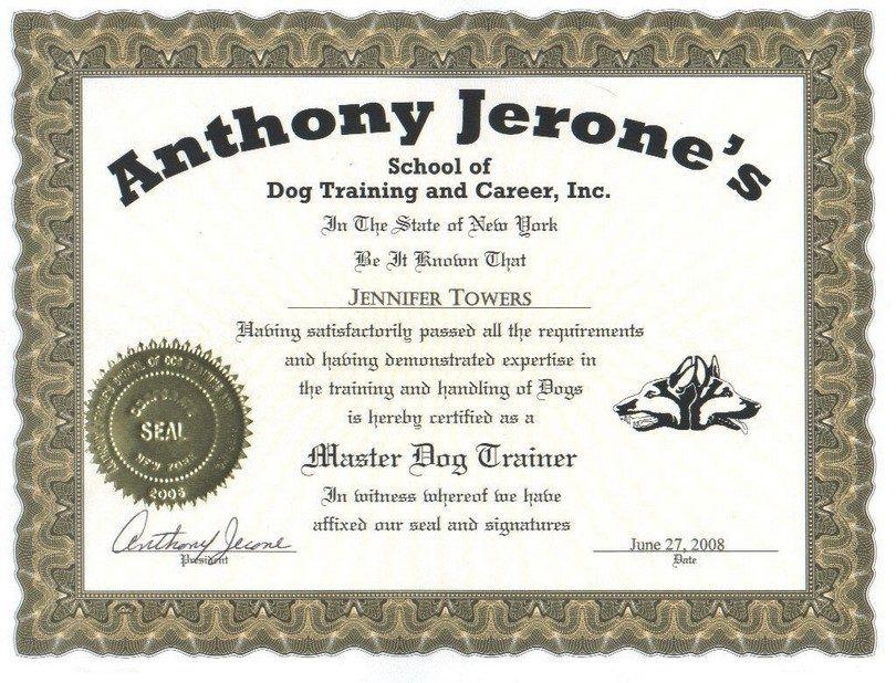 Certificado de entrenamiento del perro