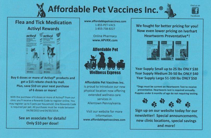Asequibles para mascotas Vacuna Volver